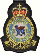 No. 45 (R) Squadron Royal Air Force RAF Crest MOD Embroidered Patch
